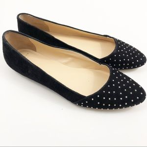 Cole Haan Black Suede Pointed Toe Studded Flats